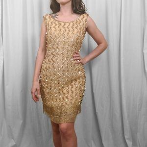Vintage Beaded Gold Mini Dress